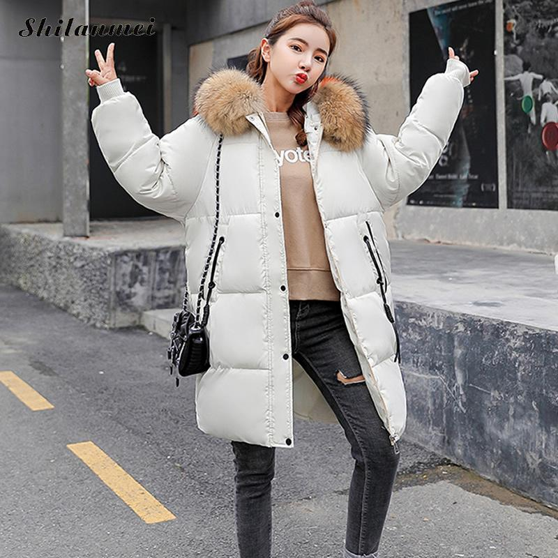 e3a6c7fad47 2018 Winter Thickened Parka Coat Plus Size Women Loose Long Autumn Coat  Black Ladies Warm Parka Fur Hooded Jacket Outwear 3xl