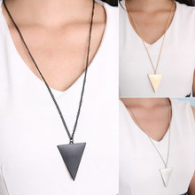 Lowest Price Women Fashion Punk Jewelry Triangle Pendant Retro Long Chain Necklace 89OQ(China)