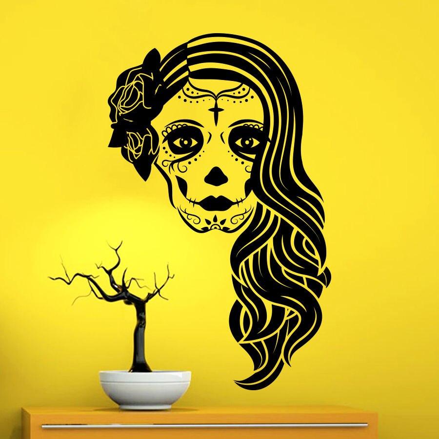 Bike stickers design joker - Wall Decals Skull Girl Face Decal Horror Living Room Window Vinyl Mural Art Home Decoration Bedroom