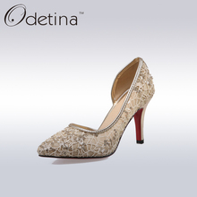 Odetina New Women Red Bottom Pumps 2017 Summer Lady Stiletto Heel Pointed Toe Party Dress Shoes Fashion Women Bling High Heels