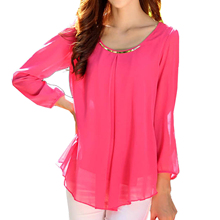 2017 NEW Women's Chiffon Long Sleeve Slim O-neck Casual Blouse Tops Shirt Rose Red