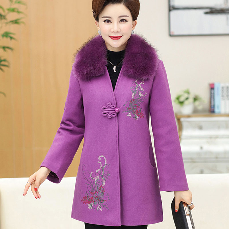 Grande Gris Plus Laine D'âge Des fuchsia Le Épais Mère Coton Taille rose Femmes P201722773 Manteau rouge Moyen De Robe ZwvwBR