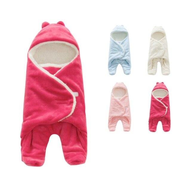 5ac613eca0 Baby Blanket Envelope Swaddle Winter Wrap Coral Fleece Newborn Blanket  Sleeper Infant Stroller Wrap Toddlers Baby Sleeping Bag