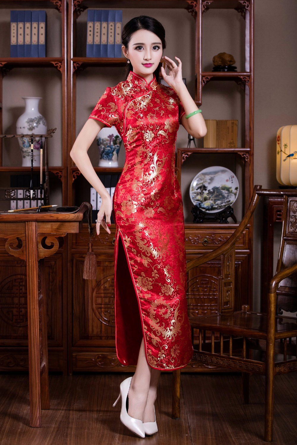 566e161c3 Shanghai Story Knee Length Fl Print Qipao Traditional Chinese. Medium Size  Of Wedding Dress Chinese ...