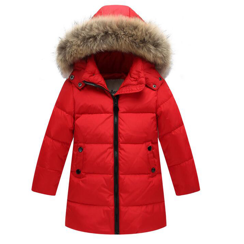 2017 boys girls solid color down jacket winter kids thicken hooded natural fur collar long down coat children outerwear