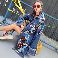 Floral Embroidery Denim Jacket Coat Spring Autumn Long Ripped Tassel Jean Jacket Women Beading Jeans Jacket Women 2018 Tops