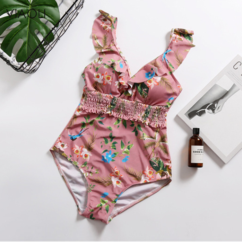 Fairy Swimsuit 2018New Korean Style Sexy Deep V Women's Swimming Suit Retro One Piece Swimwear Bikini Printed Bathing Suit Beach