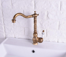 цена на Vintage Antique Brass Single Ceramic Lever Handle Swivel Spout Bathroom Basin Kitchen Sink Faucet Cold & Hot Mixer Tap asf117