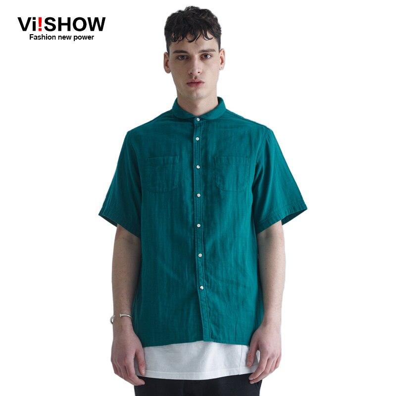 Viishow dress shirt men summer short sleeve new blouse for Solid color short sleeve dress shirts