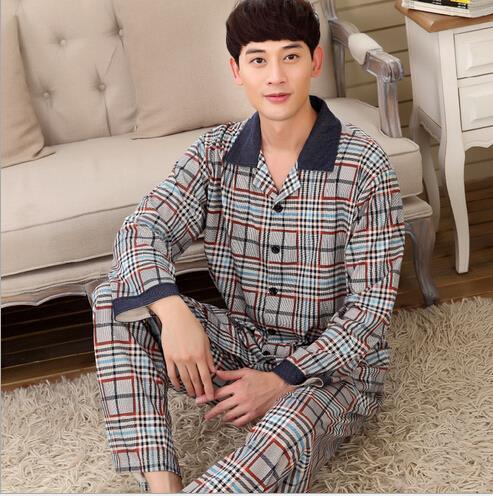 Mens 100% Cotton Classic plaid style Long Pyjama nightwear pajama lounge wear man sleepwear pijama mujer invierno