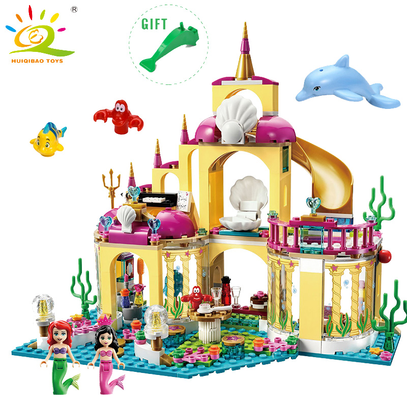 Elsa Ice Castle Princess Anna Ariel Little Mermaid Figures Building Blocks Compatible Legoed  friends for girl Educational Toys 301 princess arendelle castle building blocks princess elsa anna olaf bricks toy friends compatible legoes gift kid castle set