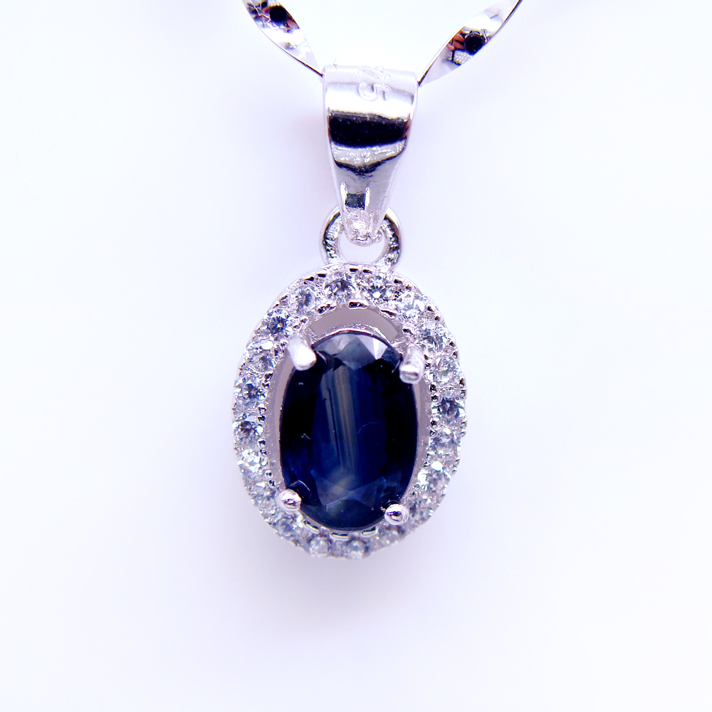 Fine Jewelry Womens Blue Sapphire Sterling Silver Pendant Necklace vsxlq