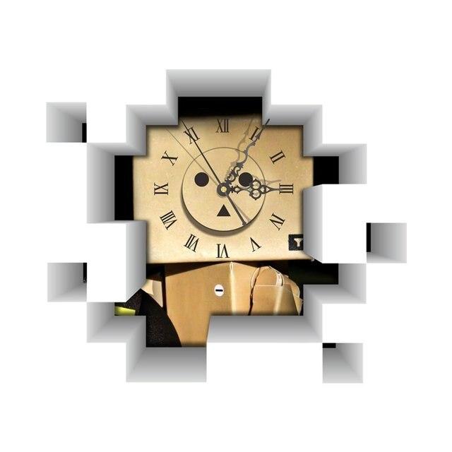 DIY 3D Art Wall Clock Decals Robot Blockhead Wall Hole Clock Sticker ...