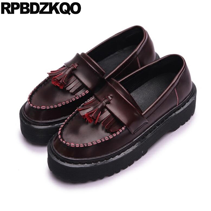 Slip Resistant Flats Muffin Platform Creepers Shoes Harajuku Fringe Elevator Tassel Thick Sole Red Wine Women Latest Drop lanshulan bling glitters slippers 2017 summer flip flops platform shoes woman creepers slip on flats casual wedges gold