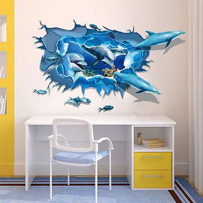 Delightful Maruoxuan 3d Dolphins Stickers Underwater World Living Room Bedroom Decor  Wall Stickers Sea Aquarium Dolphins Kids Room Poster In Wall Stickers From  Home ...