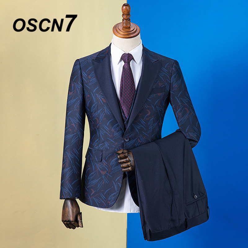 Quality Have An Inquiring Mind Oscn7 2019 Peak Lapel Print Custom Made Suits Men Slim Fit Wedding Party Mens Tailor Made Suit Fashion 3 Piece Zm-602 Superior In