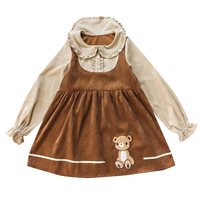 Japanese Mori Girl Kawaii Dress Women Cute Fashion Embroidery Bear Ruffle Corduroy Dresses Girls Fake Two Piece Dress