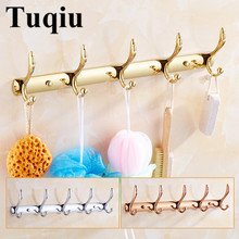 Wall Mounted Gold/Chrome/Rose Gold Clothes Hat Hook Row Vintage Robe Bathroom Bath Hardware Set Kitchen Hanger