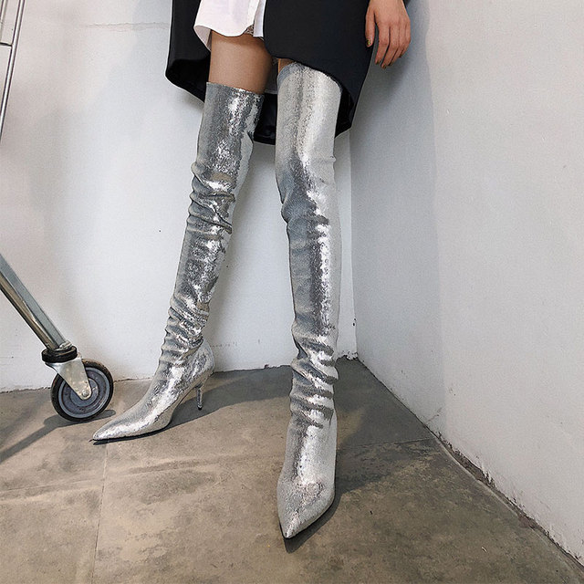 2019 Pointed Toe Brand Bling Over Knee Women Boots Sequined Cloth Thigh High Boots Dress Party Runway Nightclub Women Shoes