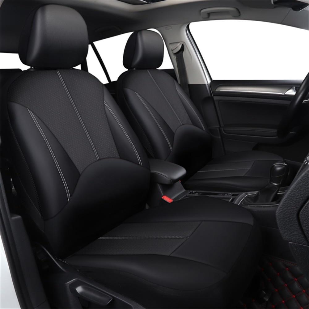 2 Pcs Auto Universal Pu Leather Car Front Seat Cover Black