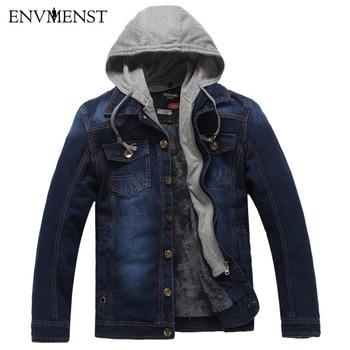 Envmenst Men Jeans Jacket  New Fashion Men's Winter Thick Denim Jackets Coat Male Hooded Fleece Warm Jacket Jean For Male