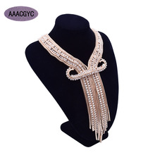 AAACGYC A013 DIY golden color Rhinestone glass necklace earring set Jewelry tassel Necklace 2018 new fashion women