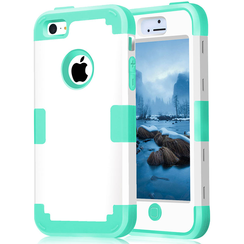 For iPhone 5/5S/SE Shockproof Protect Case Hybrid Hard Rubber Impact Skin Armor Phone Cases w/Screen Protector Film+Stylus Pen