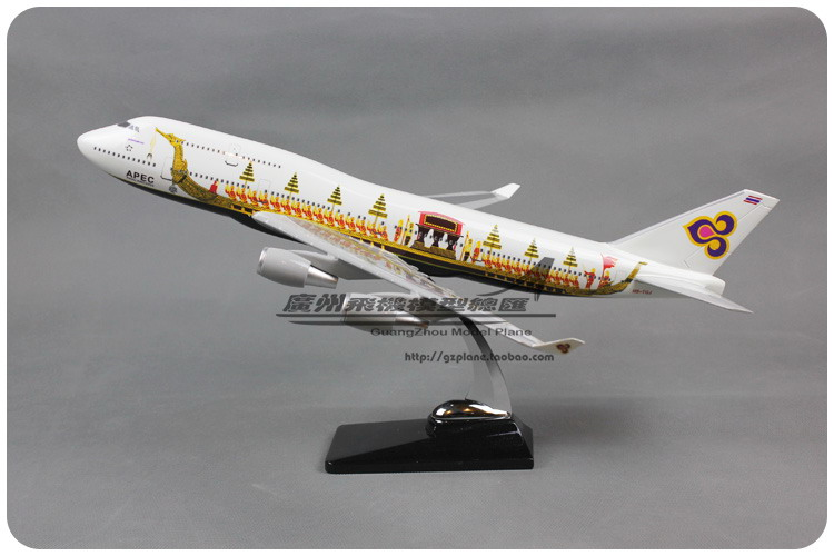 47cm Resin THAI Airways Airplane Model Dragon Boat B747-400 Airlines Model Boeing 747-400 Airbus Aircraft Plane Model Toys 1:150 1 400 jinair 777 200er hogan korea kim aircraft model