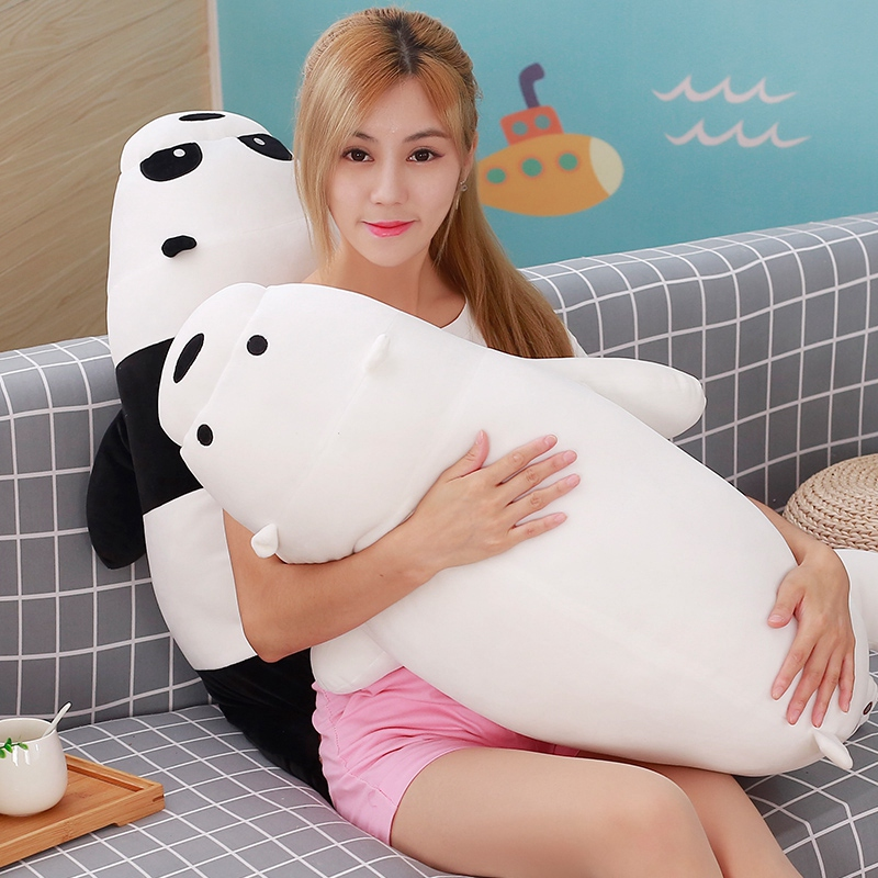 50cm Cartoon We Bare bears Lying Bear Stuffed Grizzly Gray White Bear Panda Plush Toys for Children Kawaii Dolls for Kids Gifts