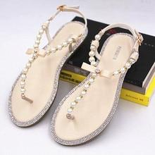 Brand women's sandals 2017 summer beaded stone pearl female sandals Rome flat sandwich toe women's sandals flat wedding shoes