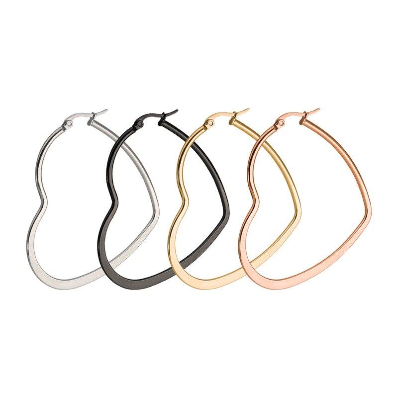 CHUKUI Cheap Heart Gold Hoop Earrings Female Big Heart Hoops Earrings Stianless Steel (5)