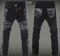 2015 Mens Leather Jeans Skinny Luxury Brand Man Patchwork Hiphop PU Leather Pants Punk Fashion Black