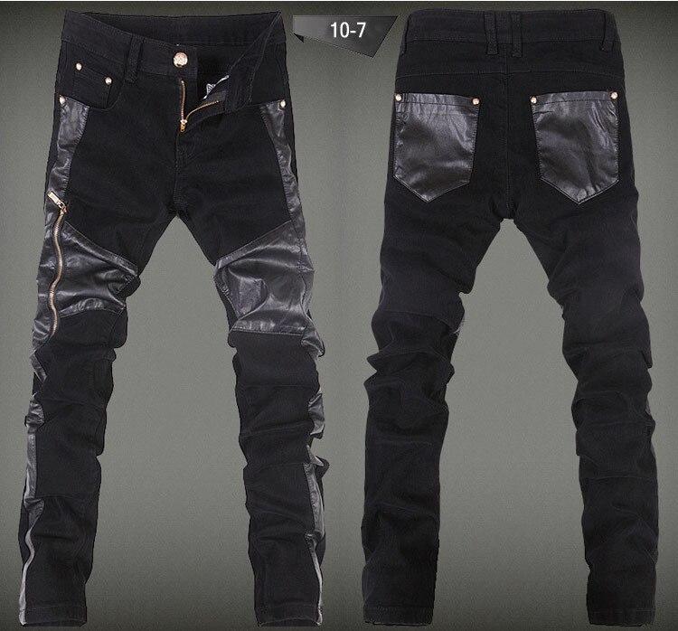 2015 Mens Leather Jeans Skinny Luxury Brand Man Patchwork Hiphop PU Leather Pants Punk Fashion Black Slim Fit Denim Trousers