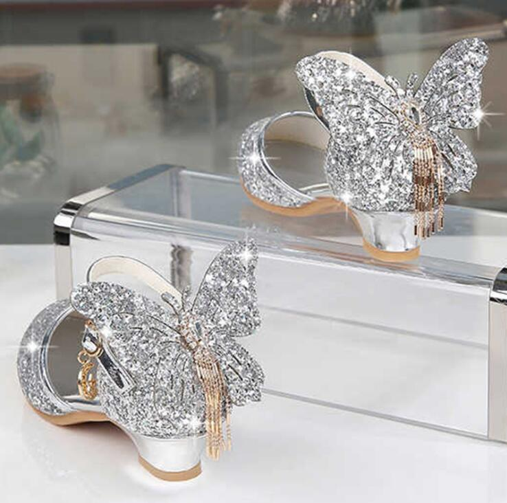 Princess Kids Leather Shoes For Girls Glitter Butterfly Knot Dress Party Children High Heel Csuals Shoe For Kids Pink Silver