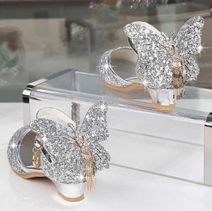 Детская кожаная обувь принцессы для девочек, блестящие вечерние туфли на высоком каблуке с бантом-бабочкой, розовые и Серебристые цвета