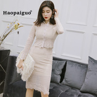 2 Piece Spring Dresses Turn-down Collar Long Sleeve Elegant Women Dress Office Sexy Party Vintage Bandage Bodycon Lace Dress