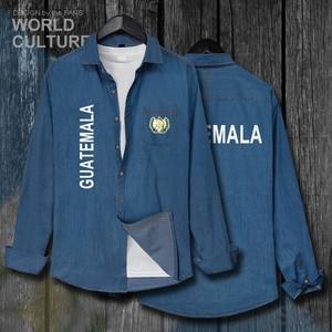 Guatemala Guatemalan GTM GT Мужская одежда с флагом осеннее Ковбойское пальто с длинными рукавами Модная Джинсовая рубашка с отложным воротником 20