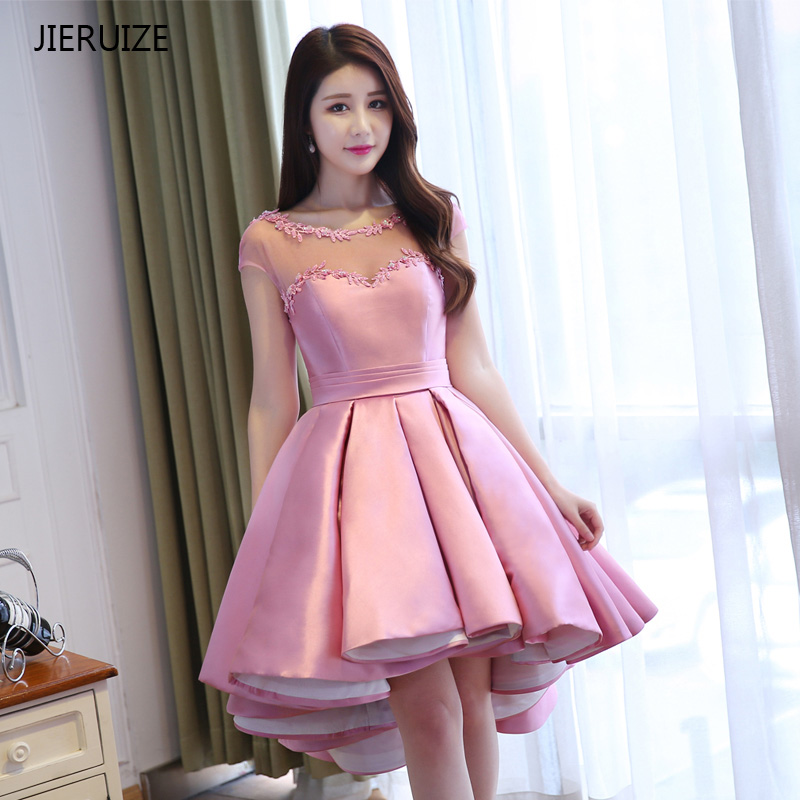 JIERUIZE Pink Satin Ball Gown High Low   Prom     Dresses   Front Short Long Back Arabic Evening   Dresses   Cheap Formal   Dresses