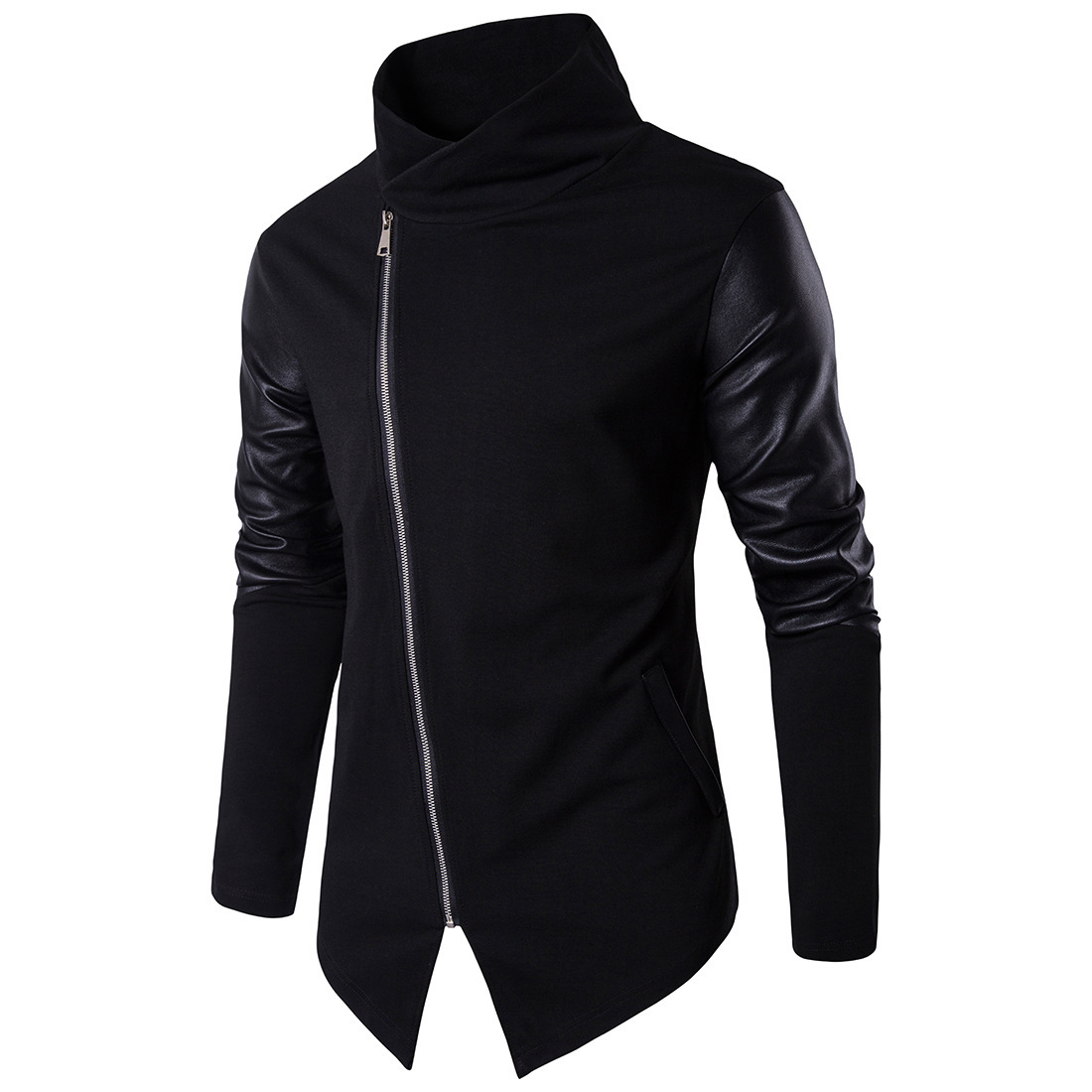Hot Sale Mens Cotton Oblique Zipper Design Sweater Slim Patchwork Leather Long Sleeve Pullover Male Autumn Stand Collar Sweater