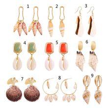 Beach Natural Shell Conch Pendant Drop Statement Earrings Women Summer Jewelry