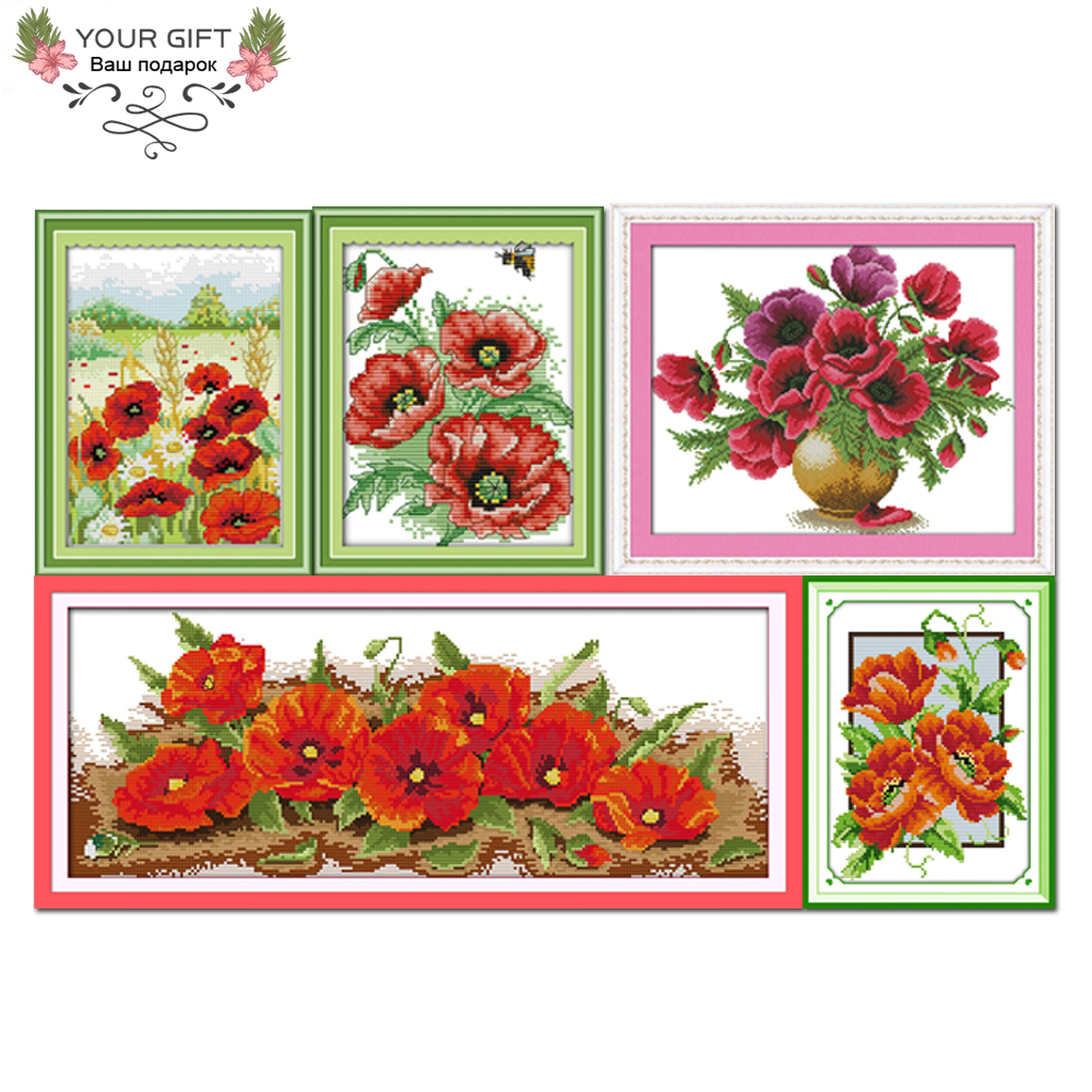Joy Sunday H238H242H243(2)H322(1)H323 Home Decor Spring Mountain Scenery Bee Love Flower Seven Poppy Flowers Vase Cross Stitch