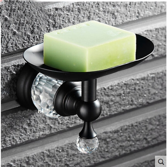 Oil Rubbed Bronze Crystal Hanger Bathroom Soap Dish Holder Wall Mounted Soap  Bar