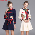 Dower Me Womens Two Piece Set Runway Dress New Arrival High Quality Flower Butterfly Embroidered Club Mini Dresses