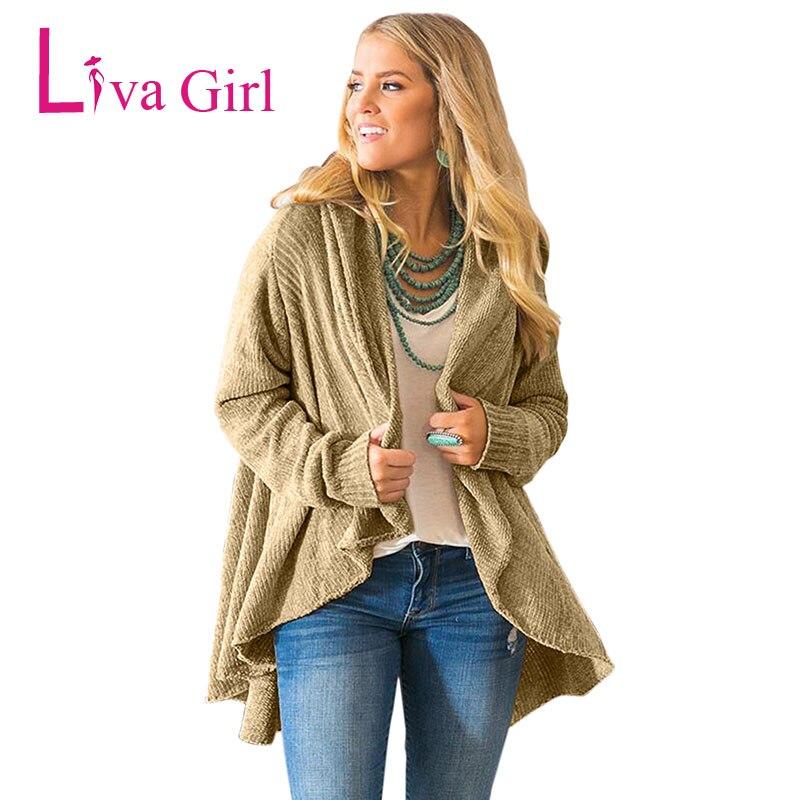 LIVA fille hiver veste décontractée Cardigans tricotés femmes automne à manches longues Chenille noir chandails bref drapé Sueter Mujer XXL - 3
