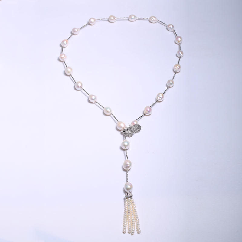 Baroque Pearls Long Necklace Tassel Necklace Can Adjust the Length of The Special-shaped 11-12 mm Small Round Bead Bead Diameter