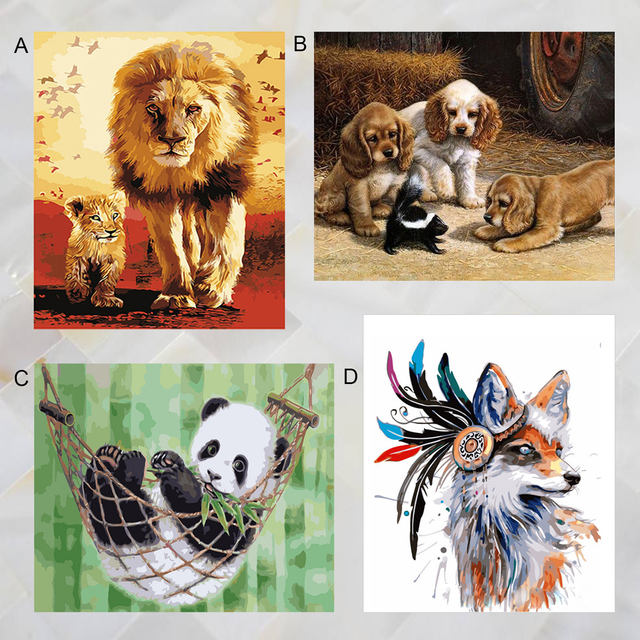 US $5 53 45% OFF|40x50cm Animal Style Frameless DIY Digital Oil Painting  Paint by Numbers Canvas with Paints Brushes for Home Office Decor-in Paint  By