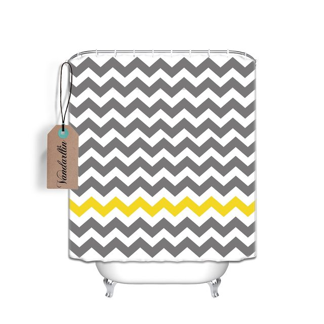 Chevron Pattern Shower Curtain,Extra Long 72 x 84 Inch, Gray ...