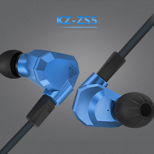 100% Original KZ ZS5 2DD + 2BA Mixed Ear Earphone HIFI DJ Monitor Stereo Sports Earphone Earplug Headset Earbud Free shipping