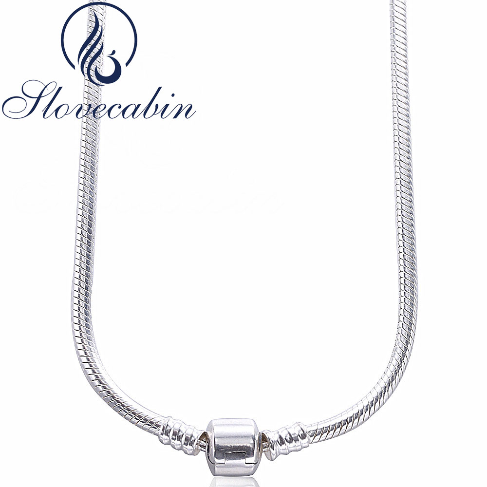 Slovecabin Original 925 Sterling Silver Clasp Pendants Necklaces Femme Vintage Classic 925 Silver Choker Necklace For