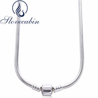 925 Sterling Silver Clasp Pendants Necklaces Fit Brand Bead Charm Vintage Choker Necklace For Women Sterling